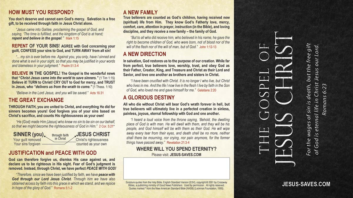 photograph about Printable Gospel Tract titled The Gospel of Jesus Christ